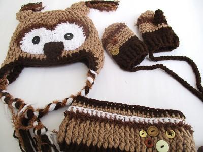 """Πλεκτό σετ για αγόρια με σκουφάκι γάντια και κασκόλ """"owl"""""""