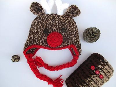 """Πλεκτό σετ για παιδιά με σκούφο και κασκόλ """"Rudolph"""""""