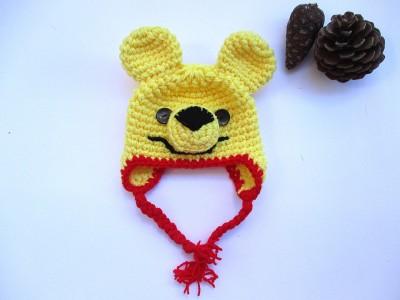 """Πλεκτός παιδικός σκούφος με αυτάκια """"Winnie the pooh"""""""