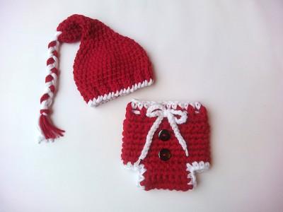 """Πλεκτό σετ για νεογέννητα με σκουφάκι και πάνα βρακάκι""""Newborn elf"""""""