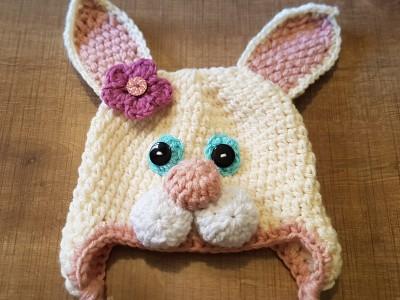 """Χειροποίητος πλεκτός σκούφος για κορίτσια """"Rabbit"""""""