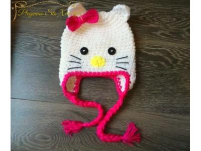 Πλεκτός σκούφος για κορίτσια Hello Kitty