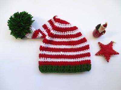 Χειροποίητο πλεκτό σκουφάκι Red/Green Elf