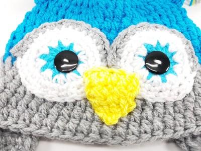 """Χειροποίητο πλεκτό σκουφάκι Κουκουβάγια """"Lovely owl"""""""