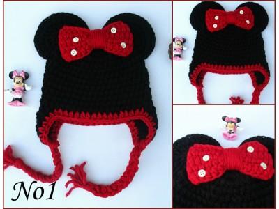 """Πλεκτός σκούφος για κορίτσια """"Minnie Mouse"""""""