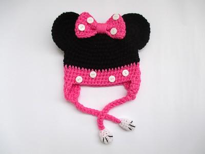"""Πλεκτό set για κορίτσια σκούφο με κασκόλ/γιακά """"Minnie mouse"""""""