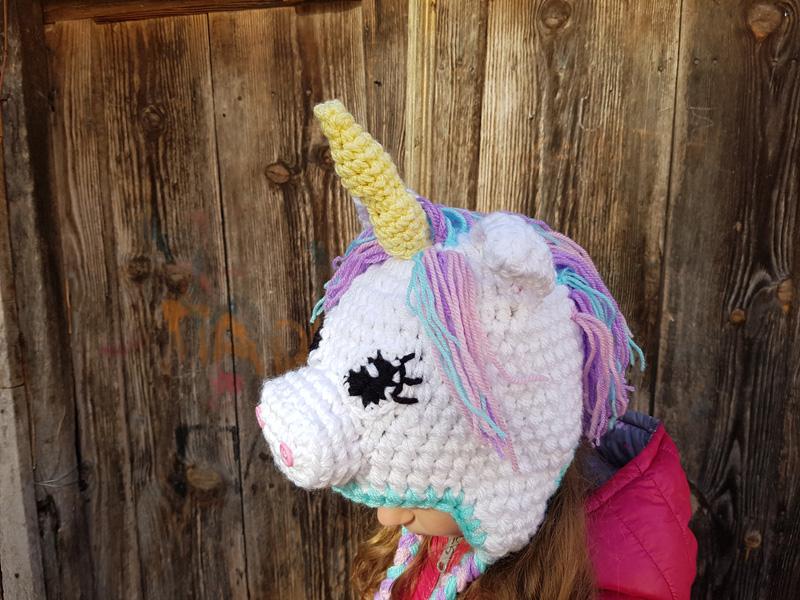 """Χειροποίητο πλεκτό σκουφάκι για κορίτσια Μονόκερος """"Unicorn"""""""